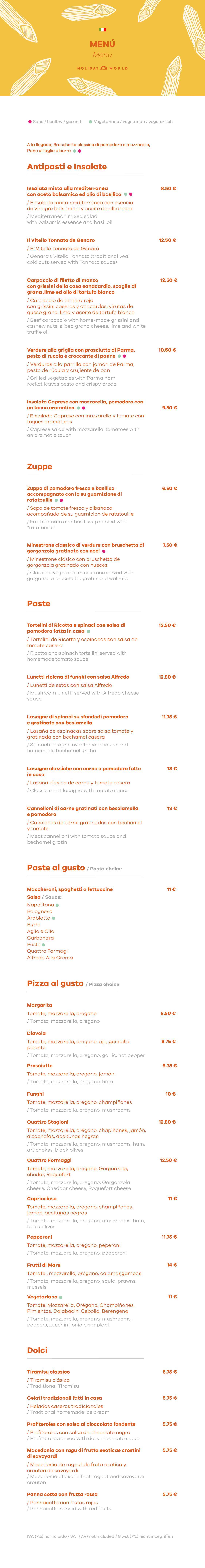 Italian Restaurant a la cart